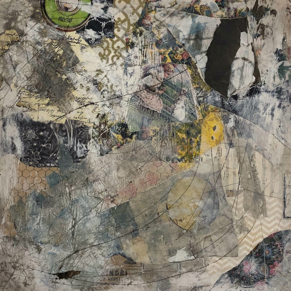 This is a collage made up of various papers. The overall look is grungy and distressed. There are pops of green and yellow in sections.