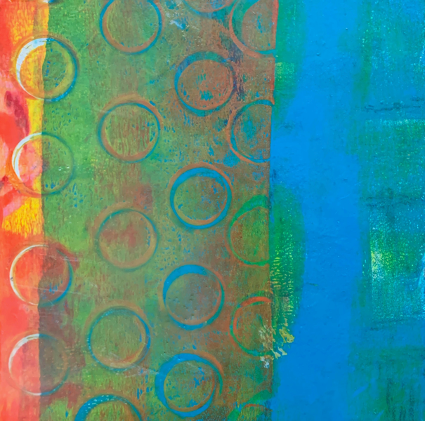 This is an image of a painting. There are many circles stamped on the surface. All of these circles are on the lefthand side. The background is cyan blue. There is a strip of yellow and orange on the lefthand side with the circles. The blue shows through most of this orange section.