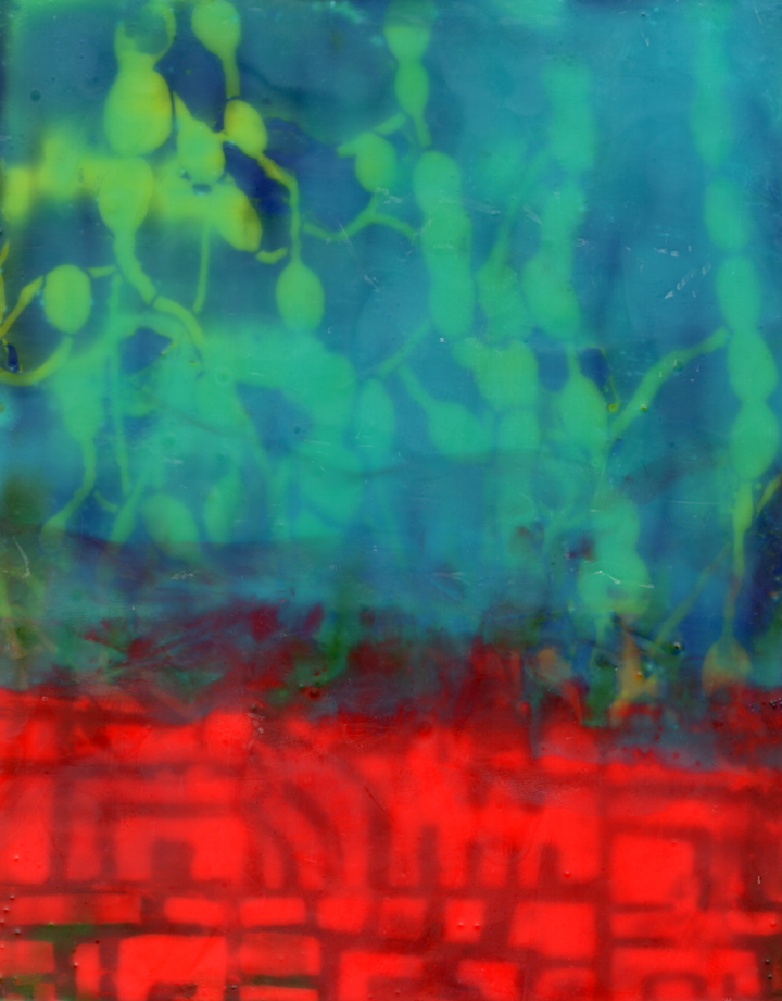 This is a turquoise and red encaustic painting. The bottom quarter is red with dark patterns underneath. The top portion is turquoise with hints of yellow and dark blue coming through.