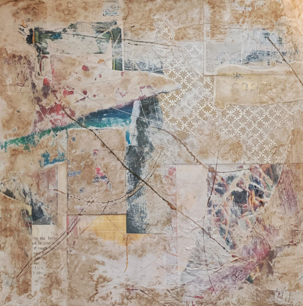 This is a collage that looks very distressed and grungy. There are scratch marks through it that are filled with brown ink. The overall image is an aged white with pops of blue and yellow in small sections.