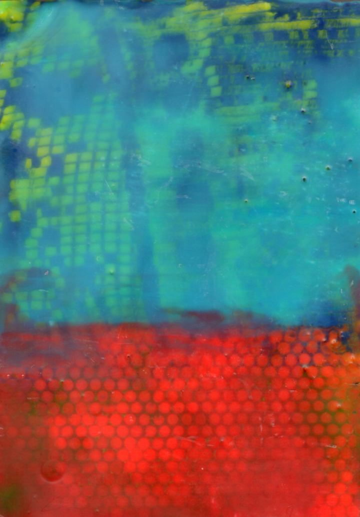This is a turquoise and red encaustic painting. The bottom third is red with hints of dark green and orange circular pattern underneath. The top two thirds is turquoise with yellow and dark blue patterns coming through.