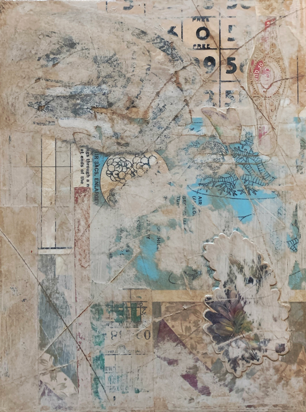 This is a collage that looks like a distressed wall that had posters on it. The papers are overlapped and covered with a dirty white paint. There are some small scratches throughout the artwork. These scratches are filled with brown ink. Pops of light blue are coming through near the centre of the artwork.