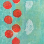 This image is of a painting. There are large bright red dots along the left hand side of the painting. There are white ovals off-centre. The background is turquoise.