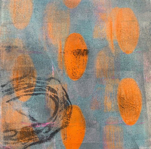 This is an image of a painting. There are fluorescent orange orbs on a greyish blue background. There is a large oval shaped pattern in the bottom lefthand corner.